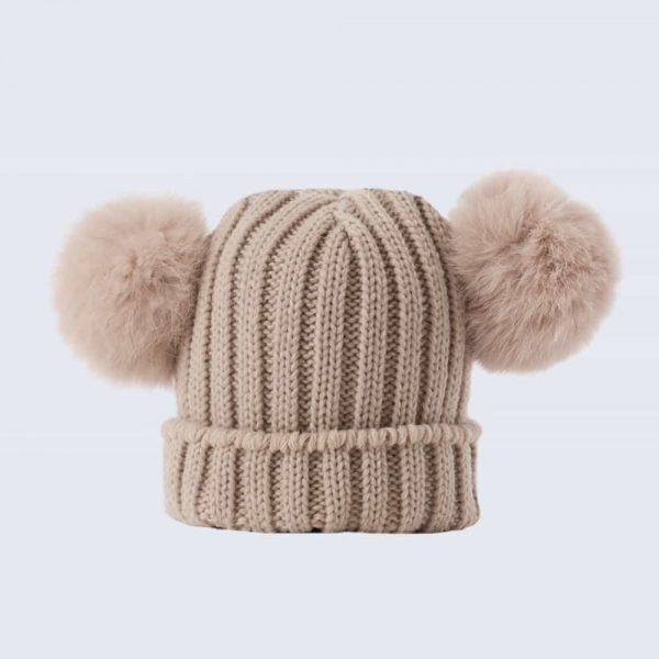455af508288 Tiny Tots Oatmeal Double Pom Pom Hat » Amelia Jane London
