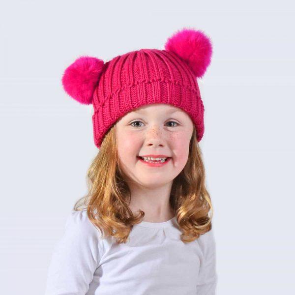 Tiny Tots Fuchsia Double Pom Pom Hat » Amelia Jane London 90beb302acb