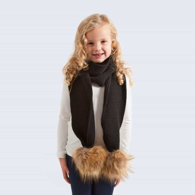 kids scarf_black_faux_brown
