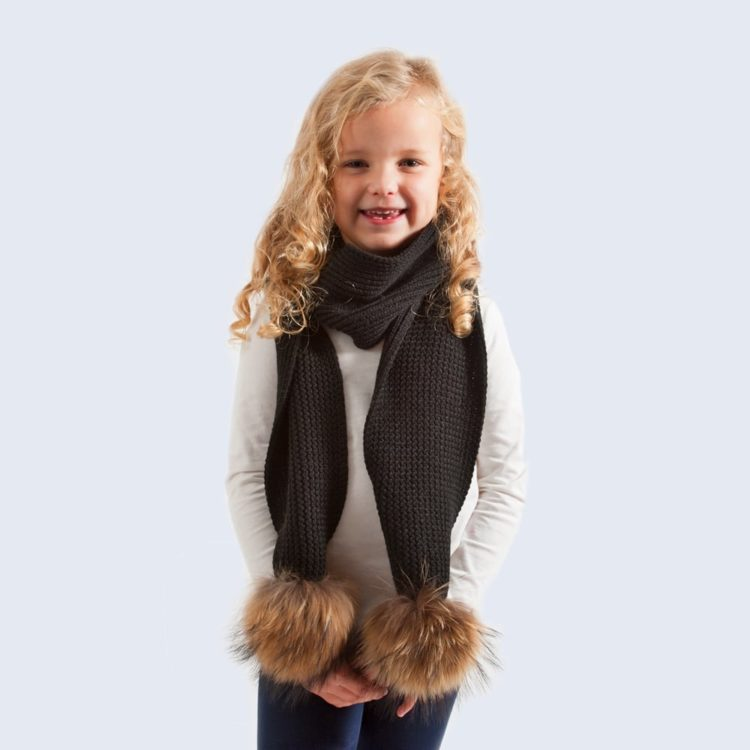 kids scarf_black_real_brown