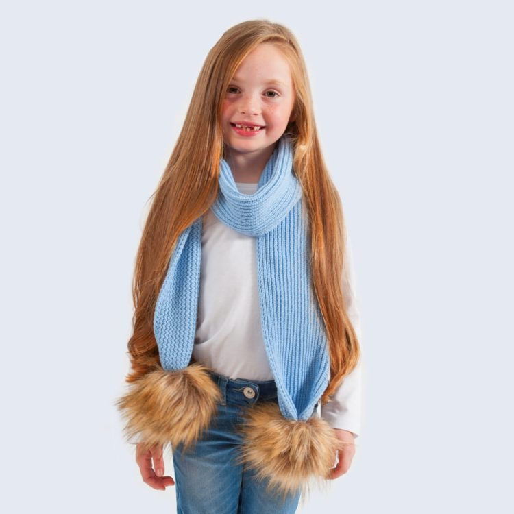 kids scarf_skyBlue_faux_brown