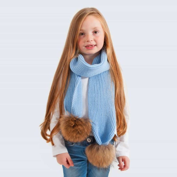 kids scarf_skyBlue_real_brown