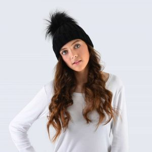 Black Hat with Black Faux Fur Pom Pom