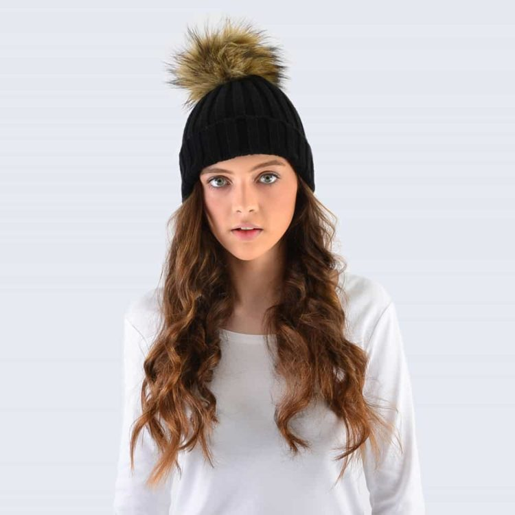 Black Hat with Brown Faux Fur Pom Pom
