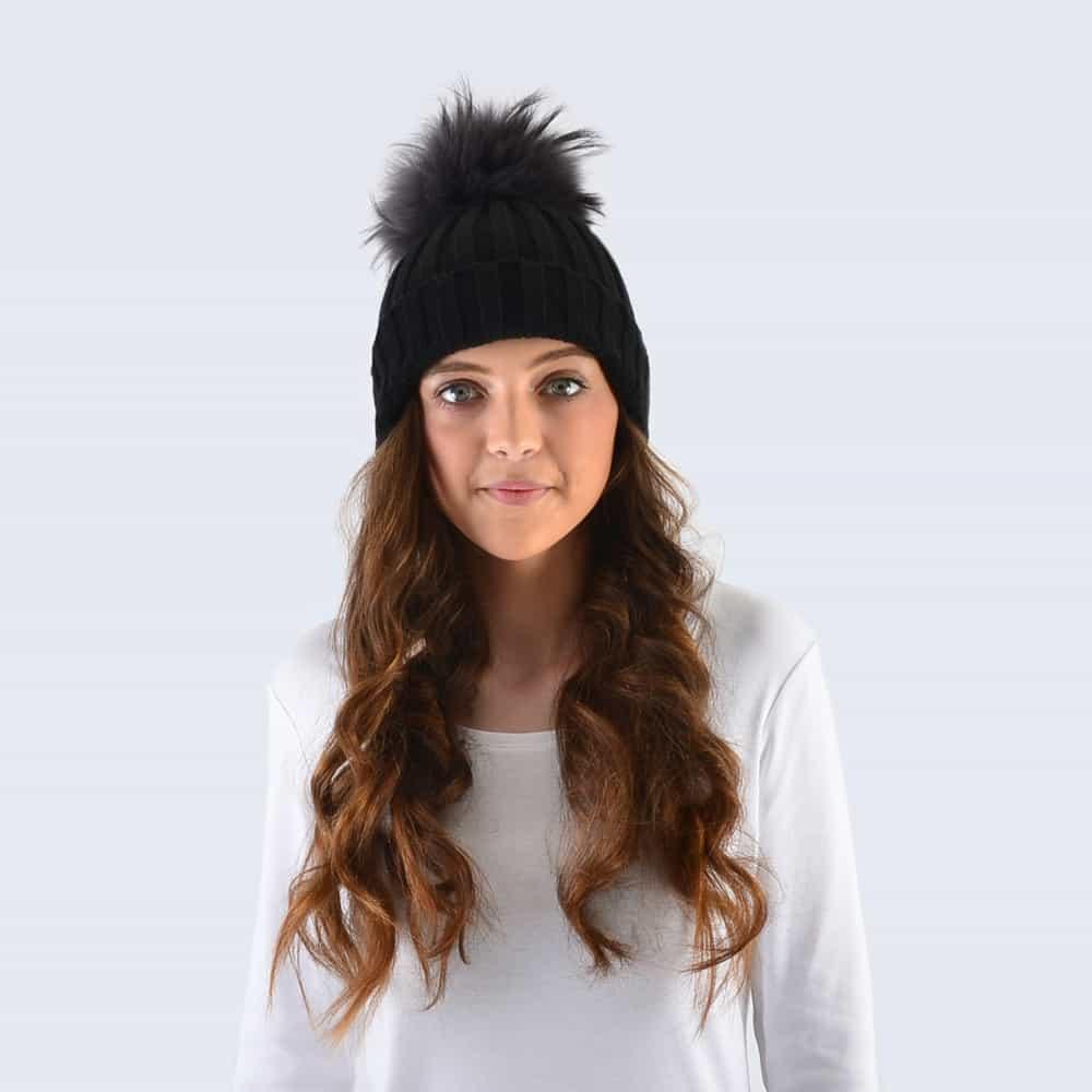 Black Hat with Grey Fur Pom Pom