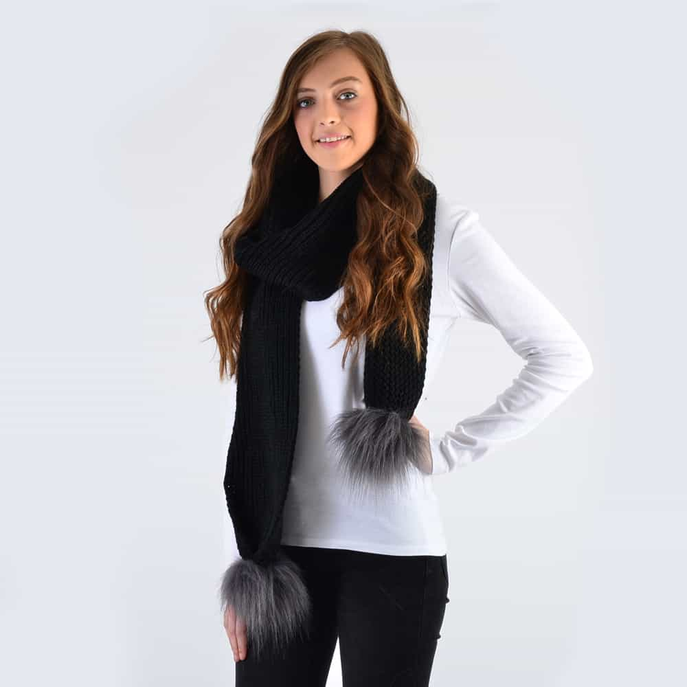 Black Scarf with Grey Faux Fur Pom Poms