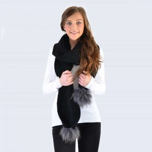 Black Scarf with Grey Fur Pom Poms
