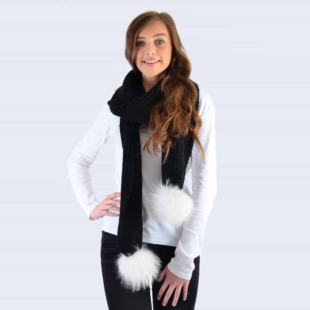 Black Scarf with White Fur Pom Poms