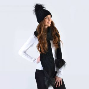 Black Set with Black Faux Fur Pom Poms