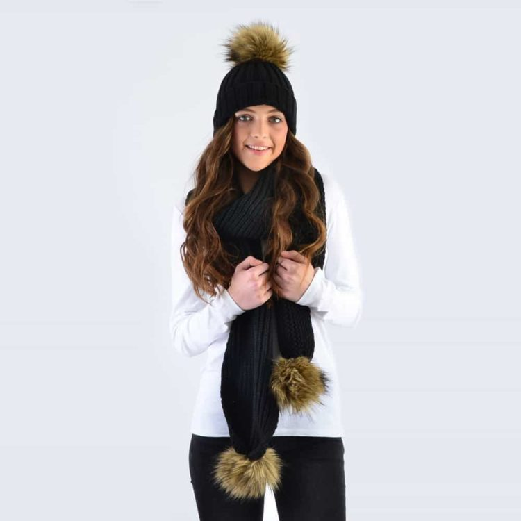 Black Set with Brown Faux Fur Pom Poms