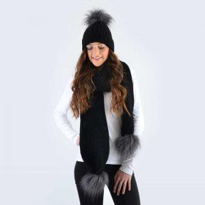 Black Set with Grey Faux Fur Pom Poms