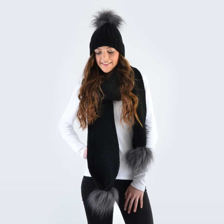 Black Set with Grey Faux Fur Pom Poms