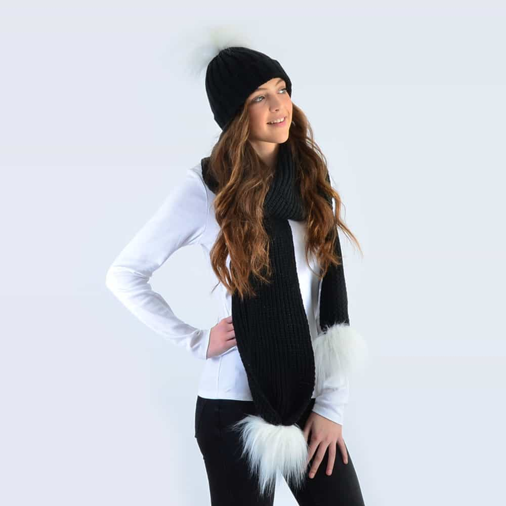 Black Set with White Faux Fur Pom Poms