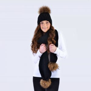 Black Set with Brown Fur Pom Poms
