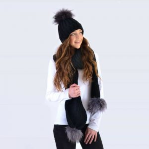 Black Set with Grey Fur Pom Poms