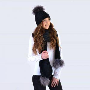 Black Set with Grey Fur Pom Poms