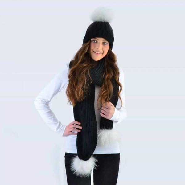 Black Set with White Fur Pom Poms