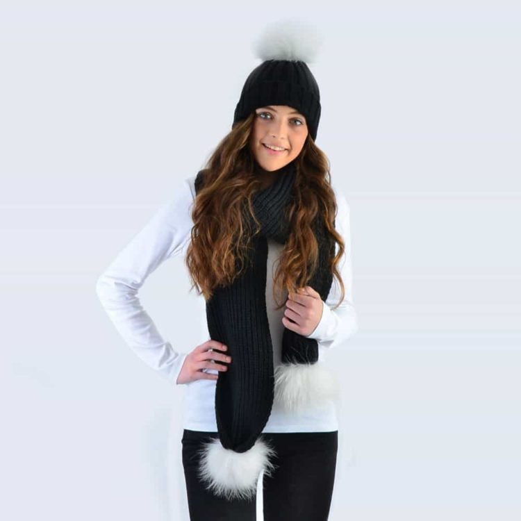 Black Set with White Fur Pom Poms