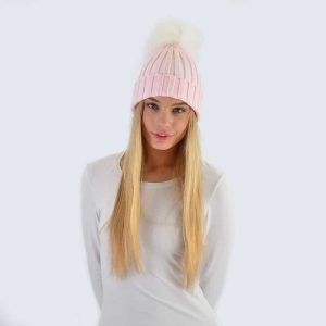 Candy Pink Hat with White Fur Pom Pom