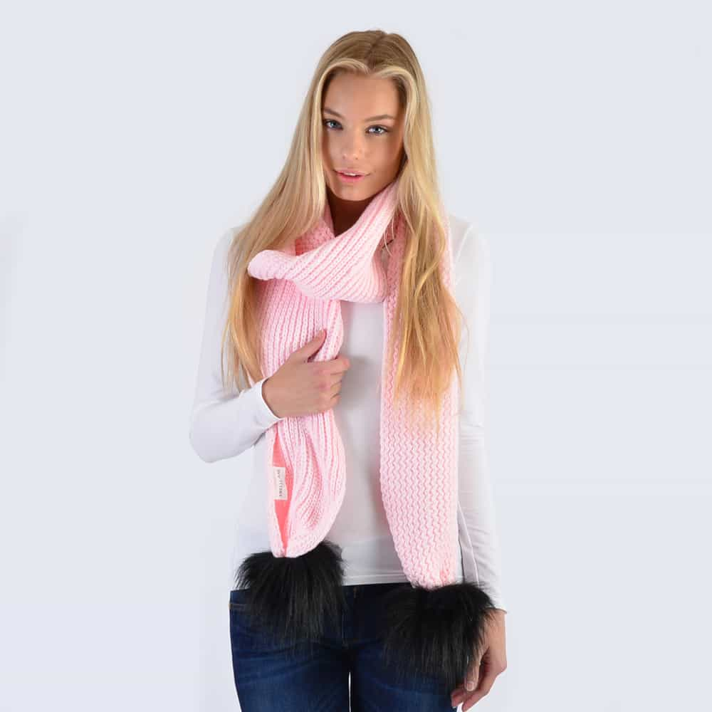 Candy Pink Scarf with Black Faux Fur Pom Poms