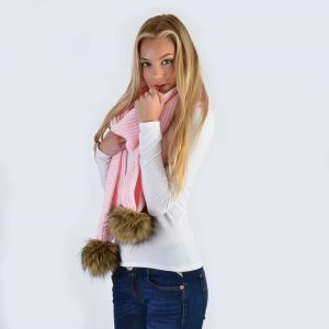 Candy Pink Scarf with Brown Faux Fur Pom Poms