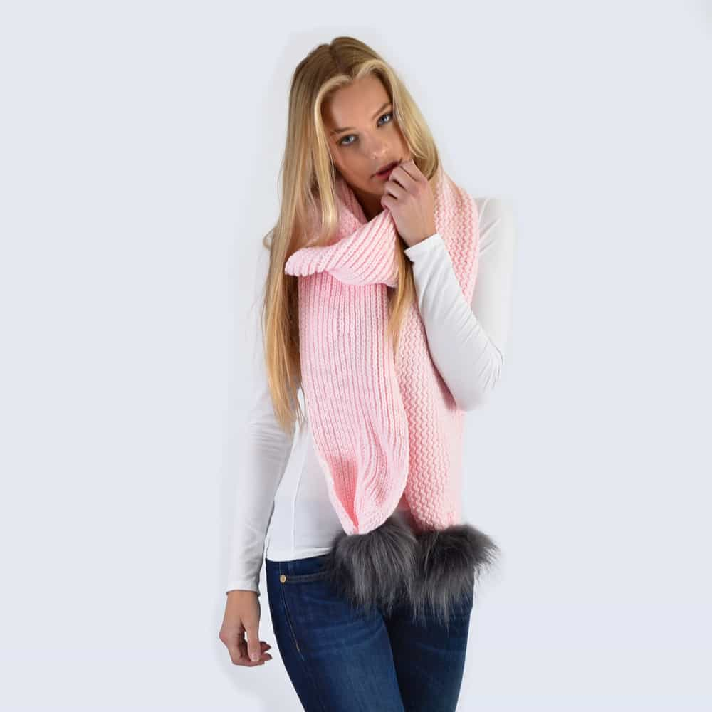 Candy Pink Scarf with Grey Faux Fur Pom Poms