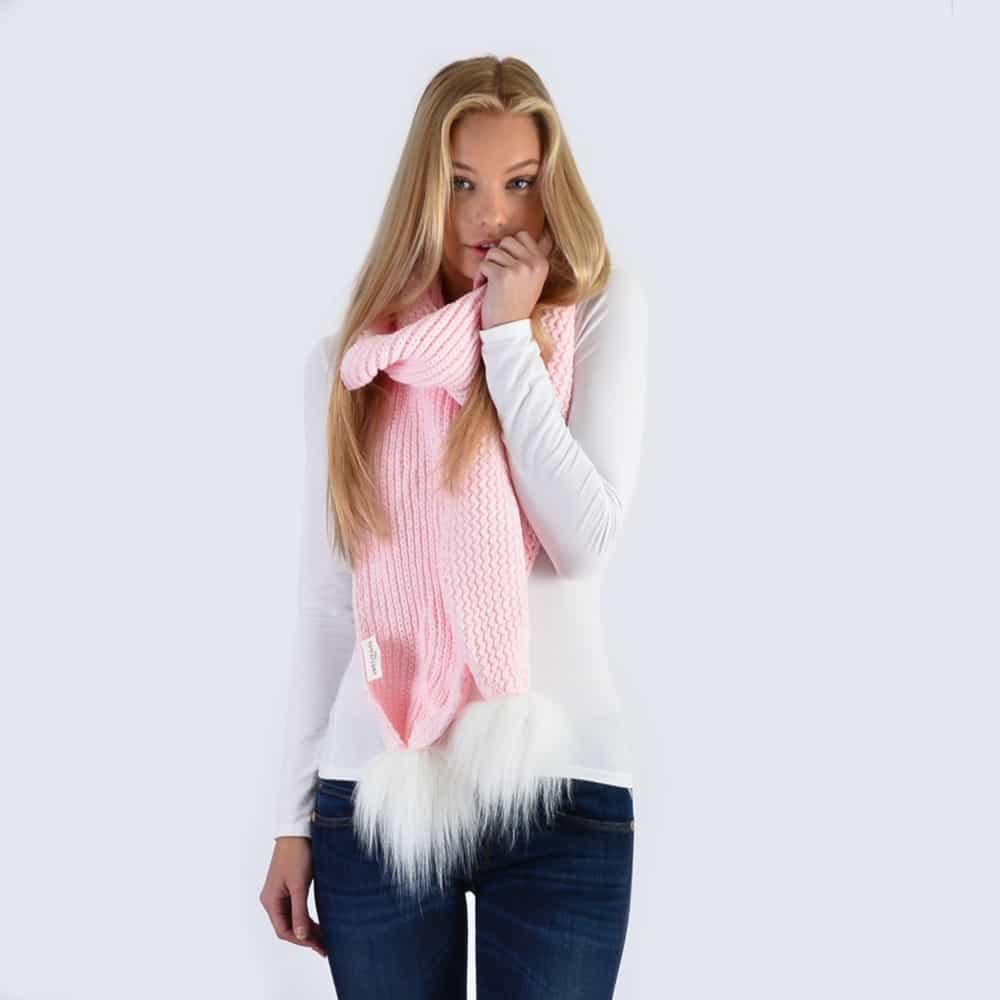 Candy Pink Scarf with White Faux Fur Pom Poms