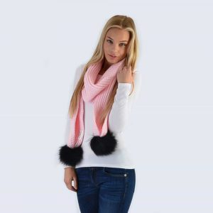 Candy Pink Scarf with Black Fur Pom Poms