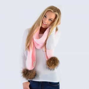 Candy Pink Scarf with Brown Fur Pom Poms