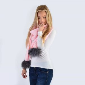 Candy Pink Scarf with Grey Fur Pom Poms