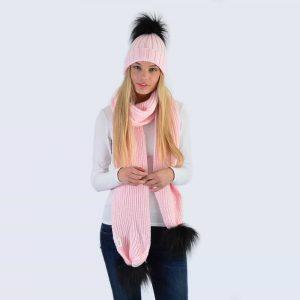 Candy Pink Set with Black Faux Fur Pom Poms