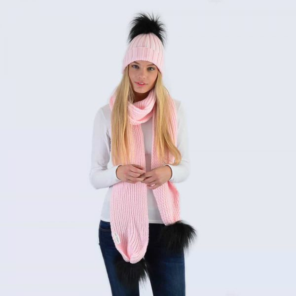 Candy Pink Set with Black Faux Fur Pom Poms