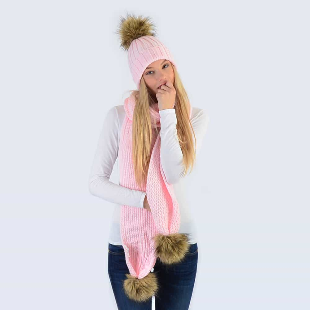 Candy Pink Set with Brown Faux Fur Pom Poms