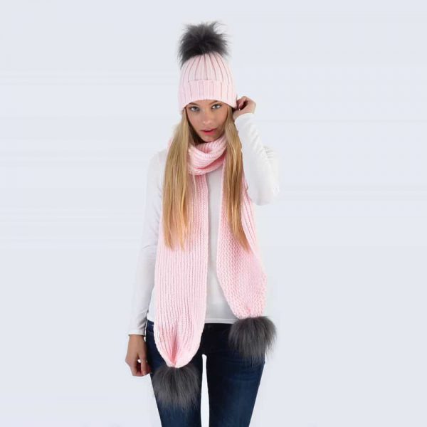 Candy Pink Set with Grey Faux Fur Pom Poms