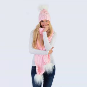 Candy Pink Set with White Faux Fur Pom Poms