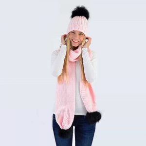 Candy Pink Set with Black Fur Pom Poms