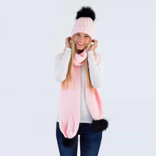 Candy Pink Set with Black Fur Pom Poms