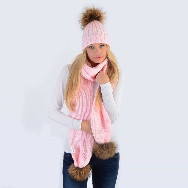 Candy Pink Set with Brown Fur Pom Poms