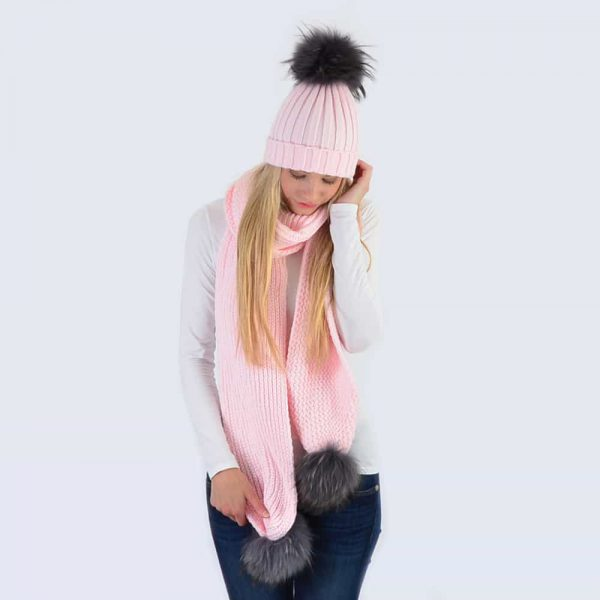 Candy Pink Set with Grey Fur Pom Poms