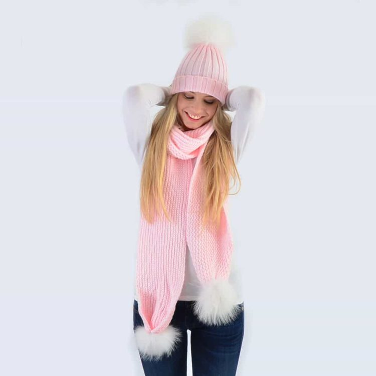 Candy Pink Set with White Fur Pom Poms