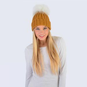 Caramel Hat with White Faux Fur Pom Pom