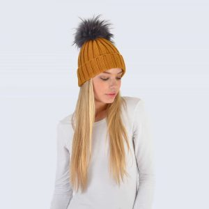 Caramel Hat with Grey Fur Pom Pom