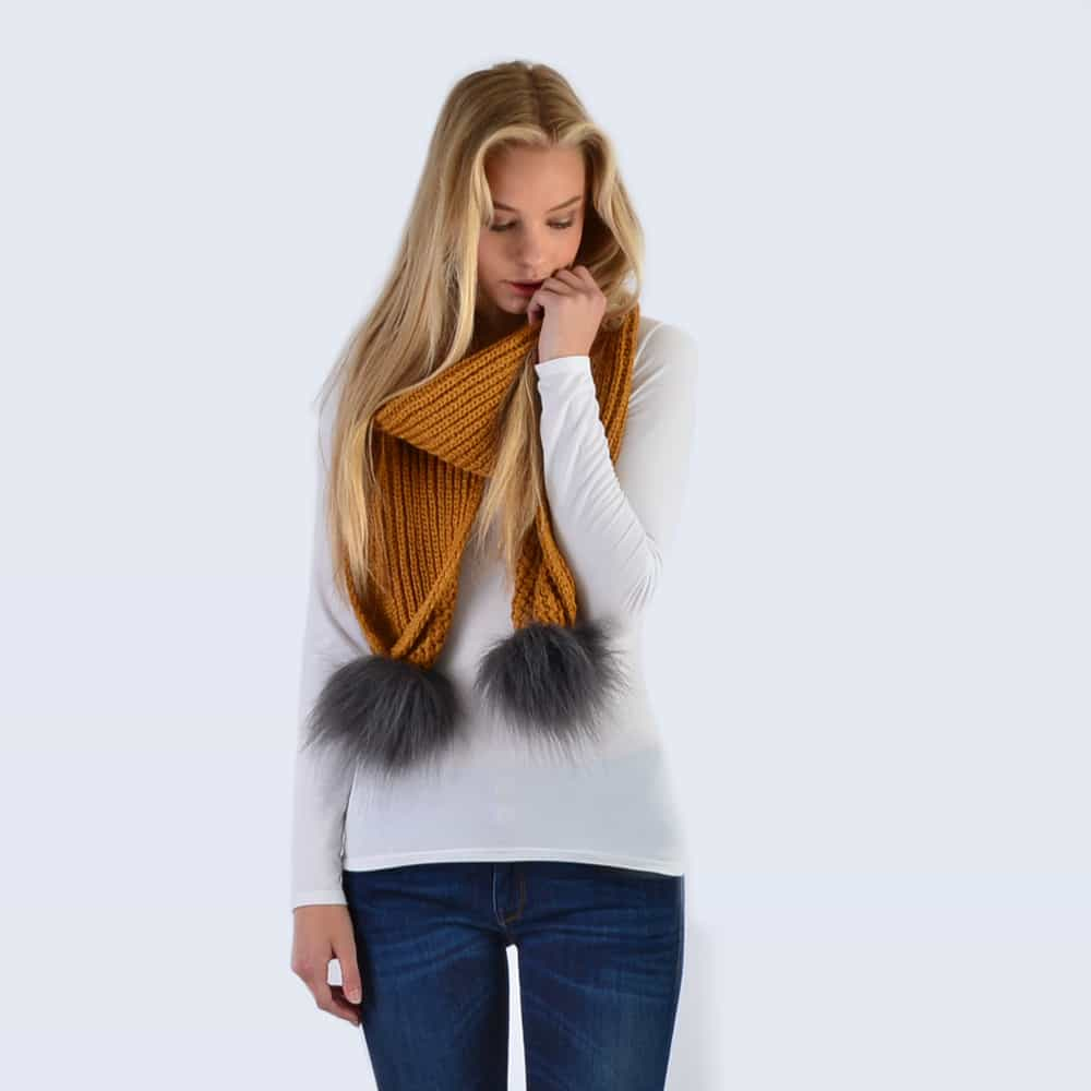 Caramel Scarf with Grey Faux Fur Pom Poms