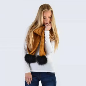 Caramel Scarf with Black Fur Pom Poms