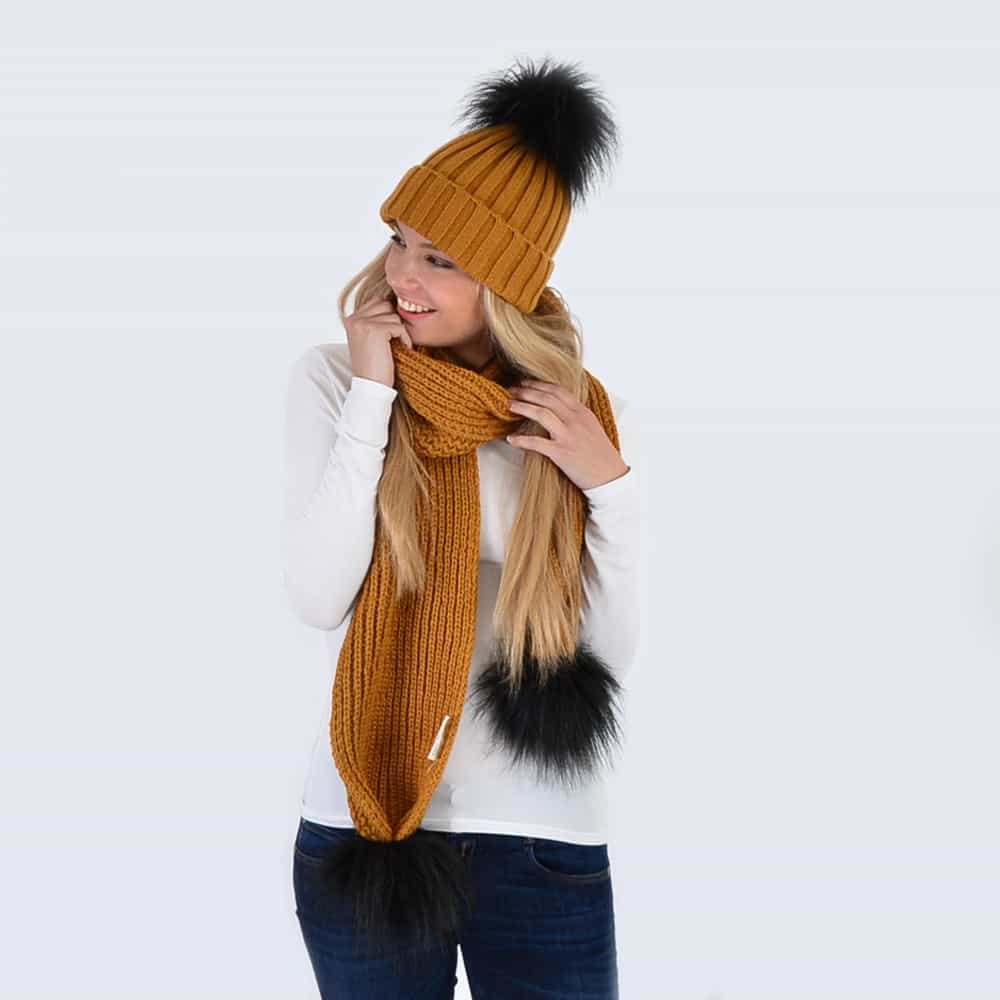 Caramel Set with Black Faux Fur Pom Poms