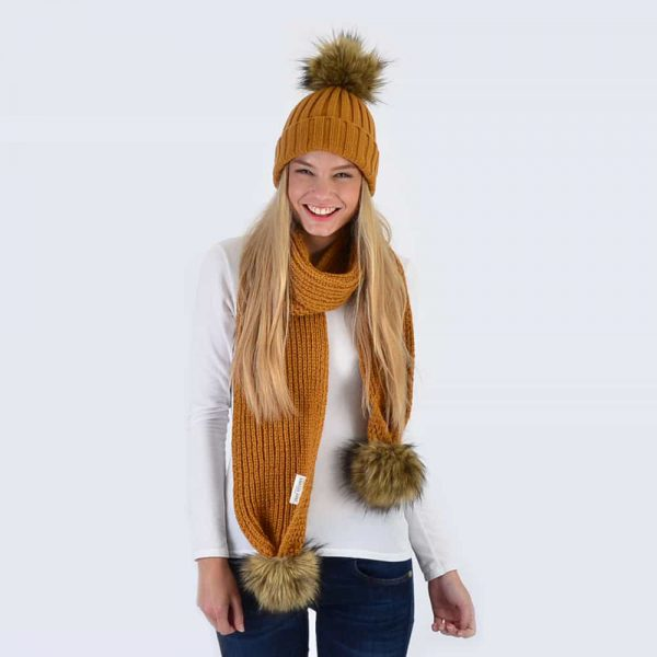 Caramel Set with Brown Faux Fur Pom Poms