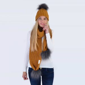Caramel Set with Grey Faux Fur Pom Poms