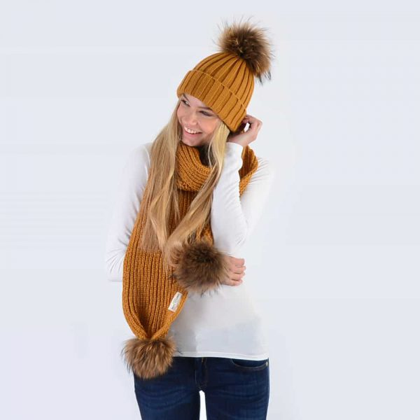 Caramel Set with Brown Fur Pom Poms