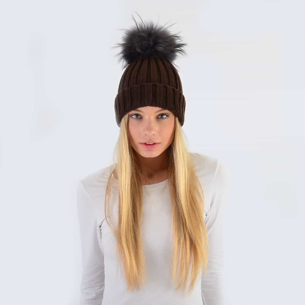 Chocolate Hat with Grey Fur Pom Pom