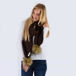 Chocolate Scarf with Brown Faux Fur Pom Poms
